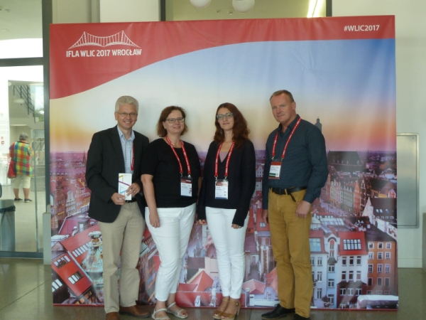 IAML members at IFLA WLIC 2017 (from the right): Anders Cato, Anna J. Shelmerdine, Katre Riisalu, Stanisław Hrabia.