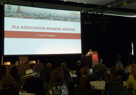 IFLA President Donna Scheeder on the Association Members Meeting.