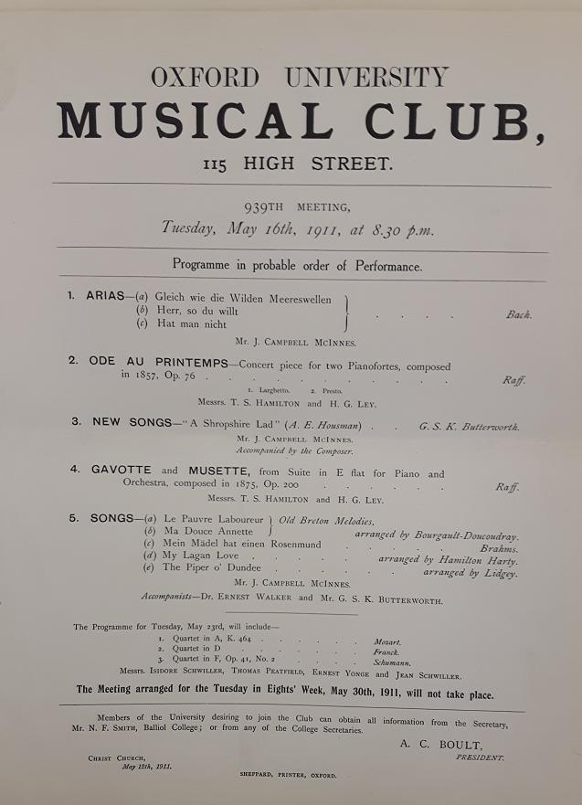 Program for a concert on May 16, 1911, that featured Butterworth's A Shropshire Lad