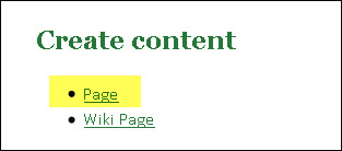 Create content new page
