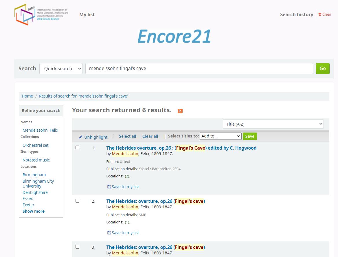 Screenshot of Encore 21 as used by IAML UK & Ireland