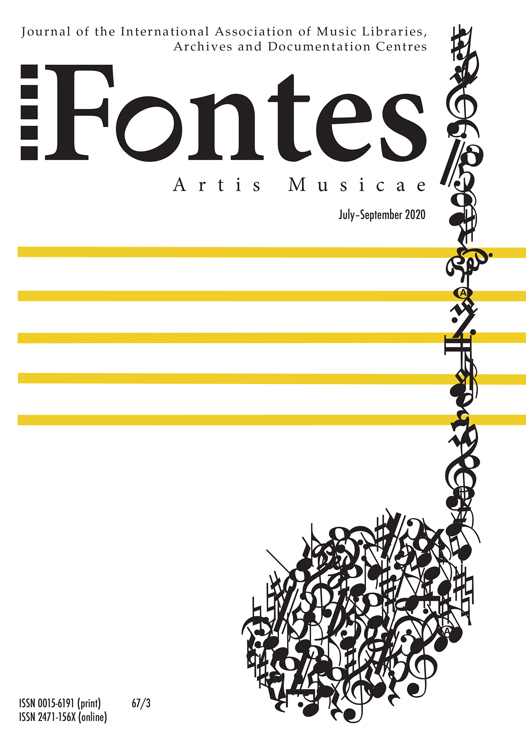 Cover of issue 67/3 of Fontes Artis Musicae