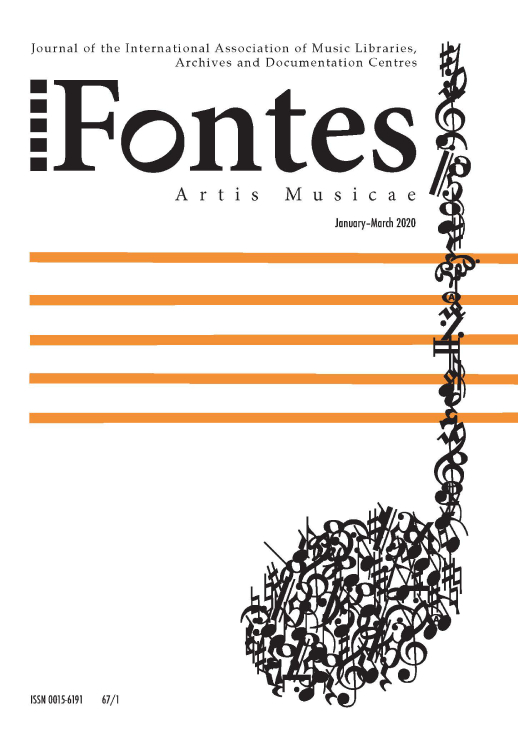 Cover of Fontes Artis Musicae for the January-March 2020 issue