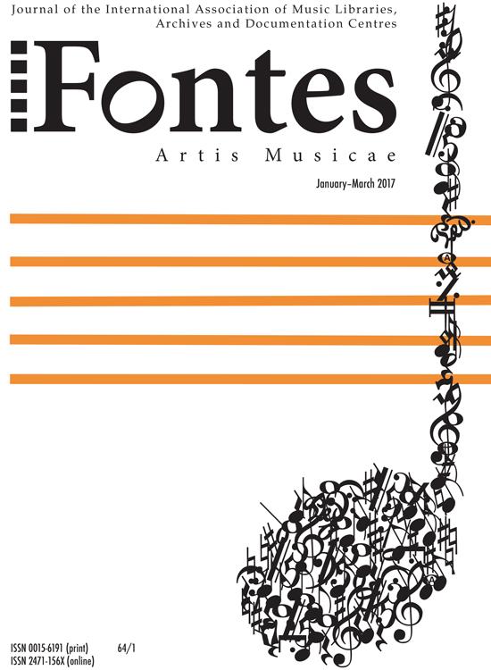 Fontes Artis Musicae cover vol.64, no.1