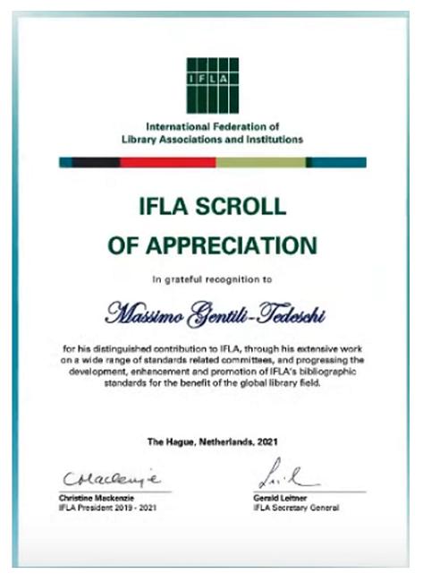 IFLA Scroll of Appreciation for Massimo Gentili-Tedeschi