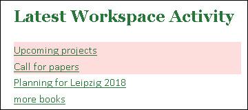 Latest workspace activity