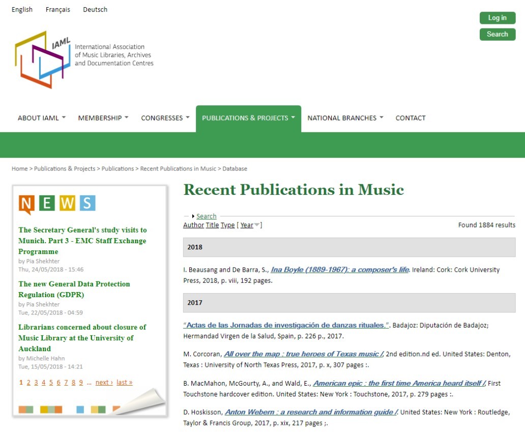 view of the Recent Publications in Music Landing Page, captured May 31, 2018.