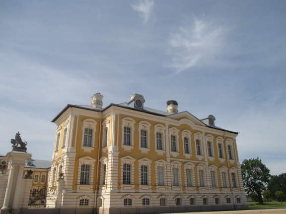 Rundale Palace with storks' nest on the chimney