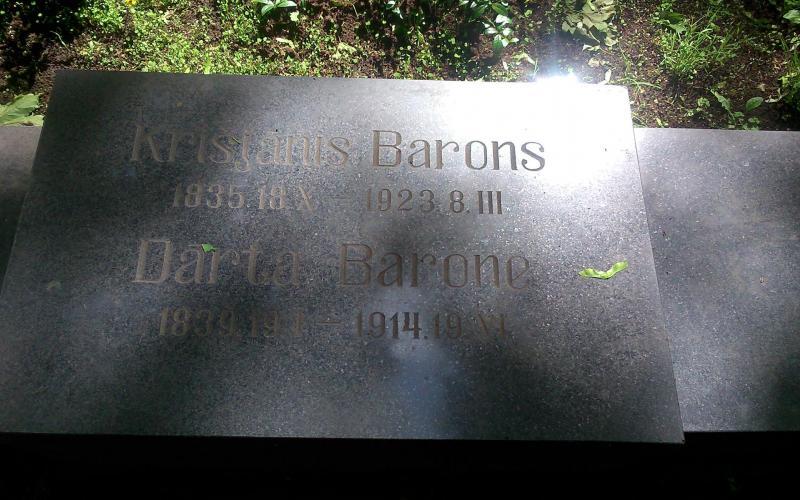 Abb. 01: Grabstein des Dainasammlers Krišjānis Barons und seiner Frau