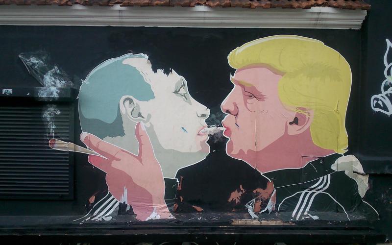 Abb. 09: Dieses Bild ging um die Welt. Es ziert die Mauer einer Kneipe in Vilnius; gemalt hat es der Sohn einer litauischen Freundin und Kollegin