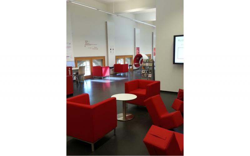 Image of listening and reading area in local library.