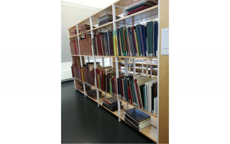 Image of shelving for oversized music scores at university library.